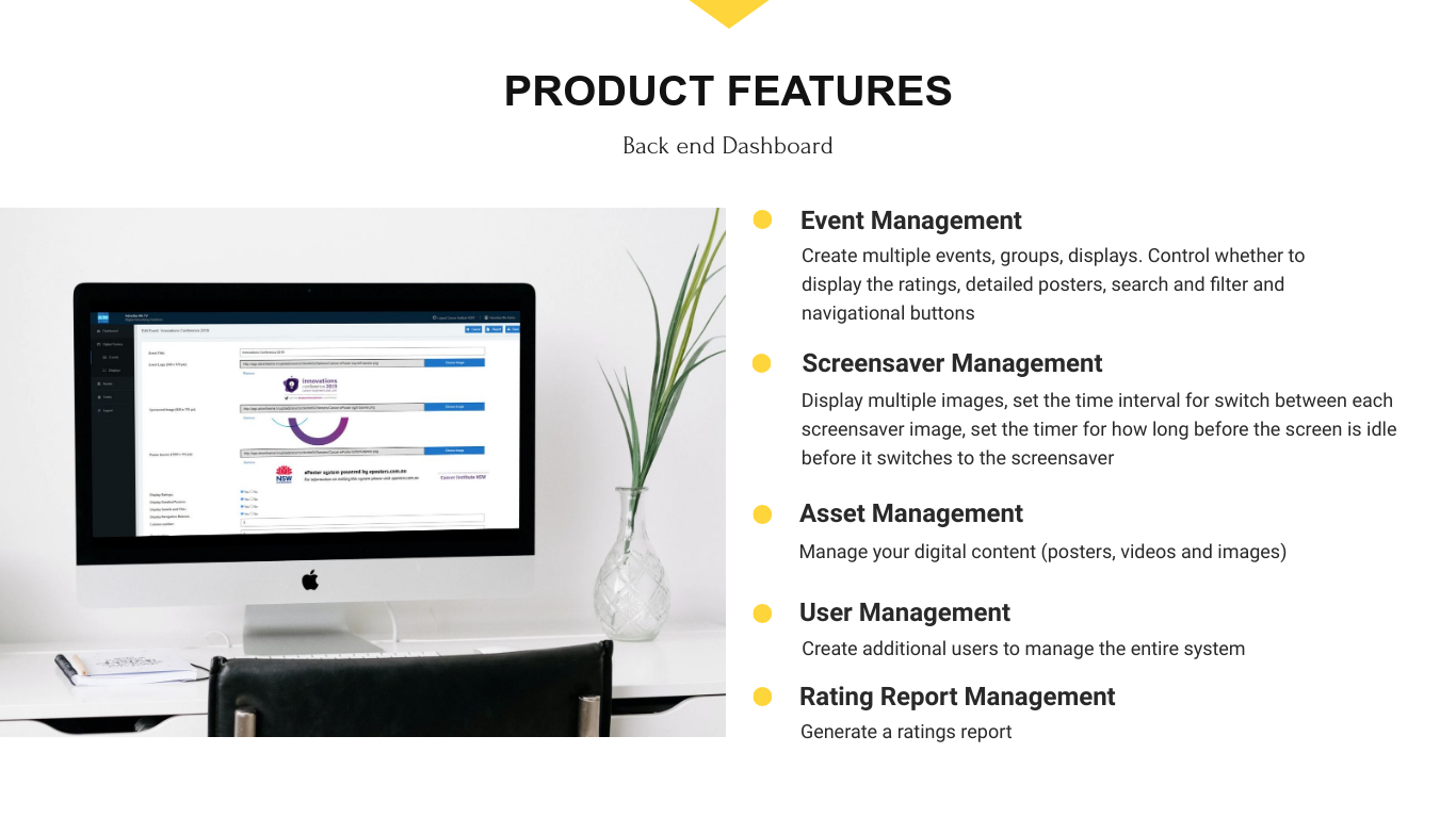 ePosters - Digital Interactive Posters Product Features Backend